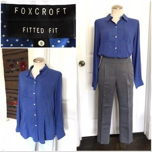 Cornflower blue foxcroft button up polkadot oxford
